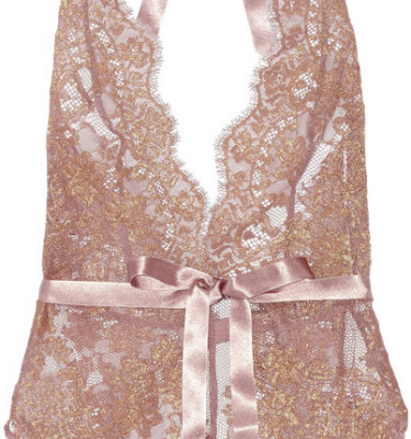 L'AGENT BY AGENT PROVOCATEUR IANA METALLIC LACE AND STRETCH-TULLE BODYSUIT